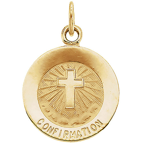 14k Yellow Gold Confirmation Medal 12mm