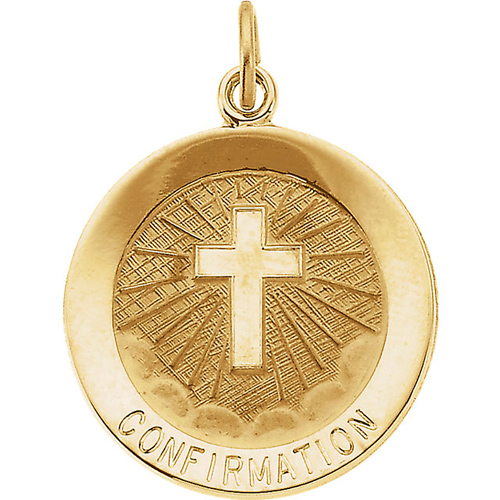 14KY Gold Confirmation Medal 15mm