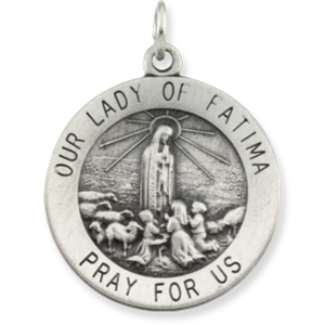 Lady of Fatima Medal 18.5mm & Chain - Sterling Silver