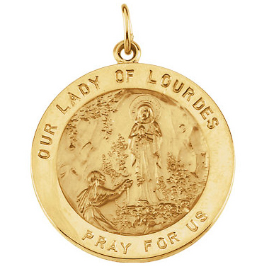 14k Yellow Gold Lady of Lourdes Medal 25mm