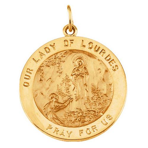 14k Lady of Lourdes Medal 18mm