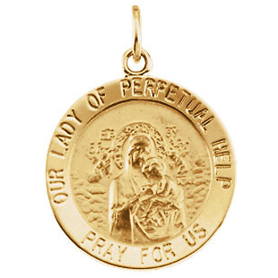 14kt Yellow Gold 15mm Lady of Perpetual Help Medal