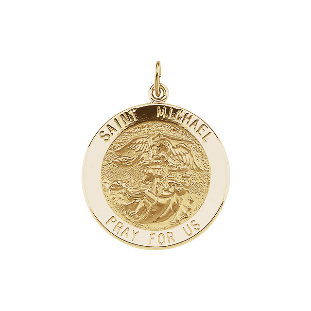 14kt Yellow Gold 25mm St. Michael Medal