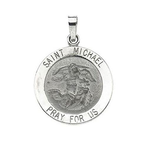 14kt White Gold 18mm Round St. Michael Medal