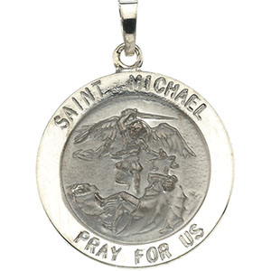 14kt White Gold 7/8in Round St. Michael Medal