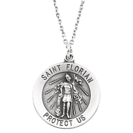 Sterling Silver St. Florian Medal 14.75mm & 18in Chain