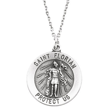 Sterling Silver St. Florian Medal 25.25mm & 24in Chain
