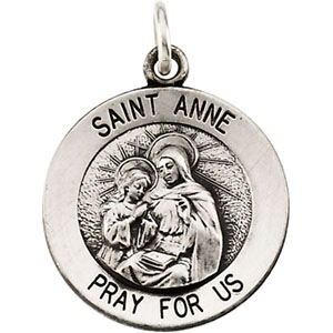 Sterling Silver St. Anne Medal 14.5mm & 18in Chain