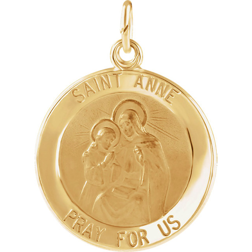 14kt Yellow Gold 12mm St. Anne Medal