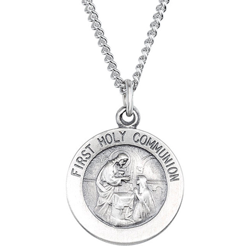Sterling Silver 15mm First Holy Communion Medal & 18in Chain