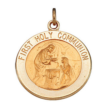 14kt Yellow Gold 15mm First Holy Communion Medal