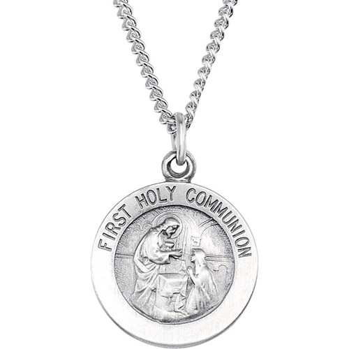Sterling Silver 18mm First Holy Communion Medal & 18in Chain