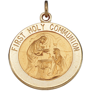 14kt Yellow Gold 18mm First Holy Communion Medal