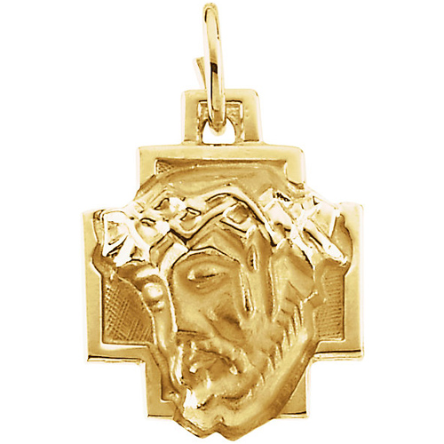 14kt Yellow Gold 12x12mm Face of Jesus Cross Medal