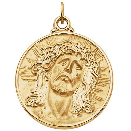 14kt Yellow Gold 21mm Round Face of Jesus Medal - Clearance