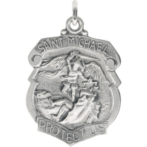 St. Michael Medal 28mm - Sterling Silver