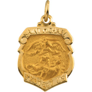 14kt Yellow Gold St. Michael Medal 16.5mm x 14.25mm