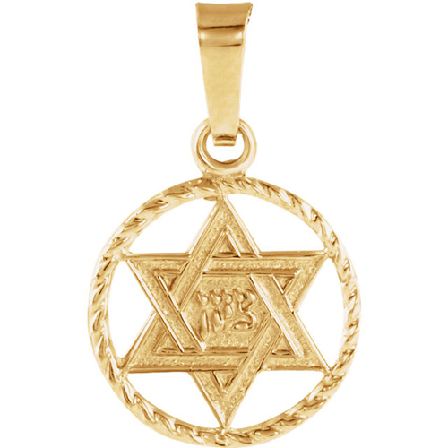 14kt Yellow Gold 1/2in Round Star of David Braided Charm