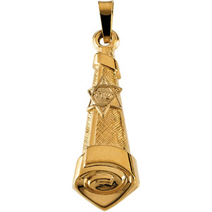 14k Hollow Mezuzah Pendant 26x10mm
