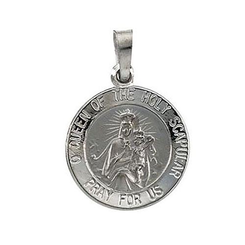 14kt White Gold 15mm Scapular Medal