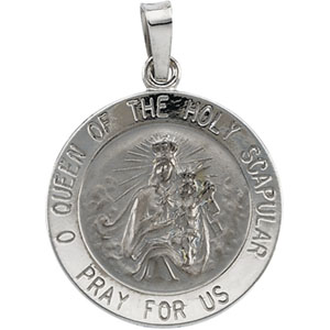 14kt White Gold 18mm Scapular Medal