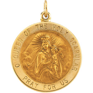 14kt Yellow Gold 7/8in Round Scapular Medal