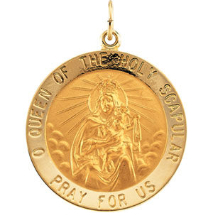 14kt Yellow Gold 1in Round Scapular Medal