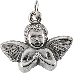 14kt White Gold 11x12mm Angel Baby Pendant