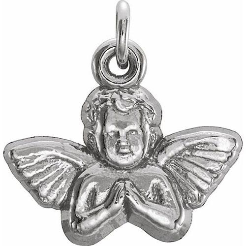 14kt White Gold 11x12mm Angel Baby Pendant