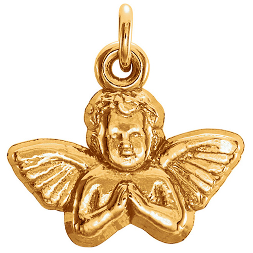14k Yellow Gold Angel Baby Pendant 11x12mm