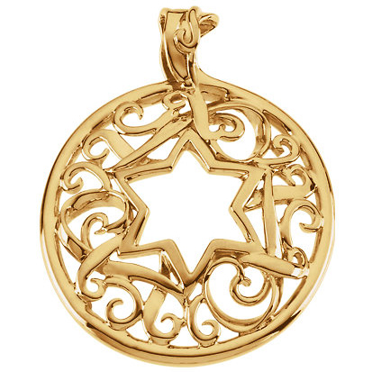 14kt Yellow Gold 1 3/8in Fancy Round Star of David Pendant