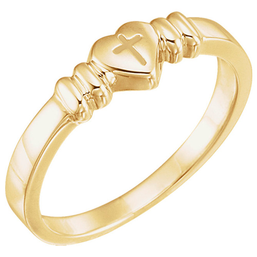 14kt Yellow Gold Heart with Cross Chastity Ring