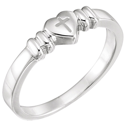 Sterling Silver Heart with Cross Chastity Ring
