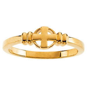 14kt Yellow Gold Purity Ring with Cross
