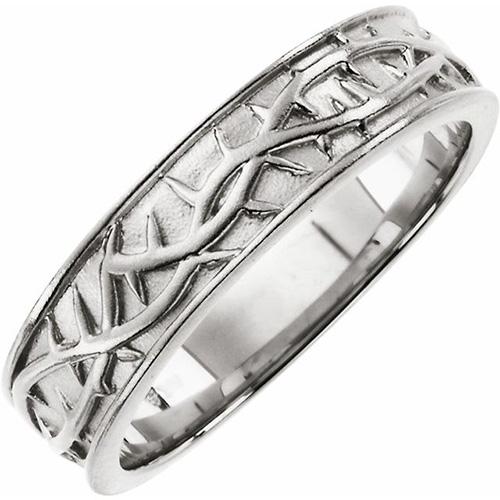 Men's Crown of Thorns Ring - 14kt White Gold