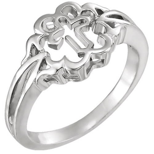 Chastity Cross Ring - 14k White Gold