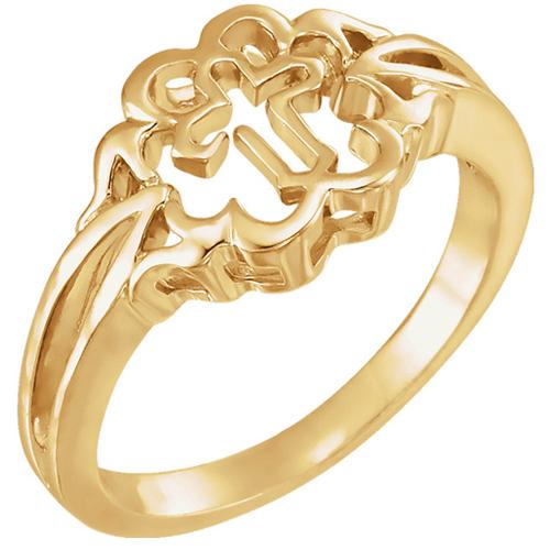 Chastity Cross Ring - 14k Yellow Gold
