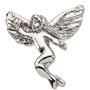 14k White Gold Dancing Angel Lapel Pin 12x13mm