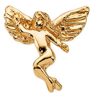 14k Yellow Gold Dancing Angel Lapel Pin 12x13mm