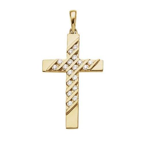 14kt Yellow Gold 1/3 ct tw Diamond Cross 28x18mm