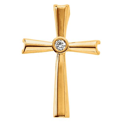 14k Yellow Gold .04 ct Diamond Bezel Cross Pendant 7/8in
