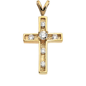 14kt Yellow Gold 1/3 ct Diamond Cross