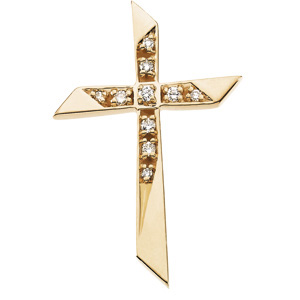 14kt Yellow Gold .08 ct Diamond Pointed Cross Pendant 1in