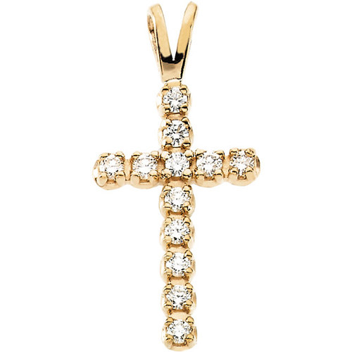 14kt Yellow Gold 1/8 ct Diamond Cross with V Bail