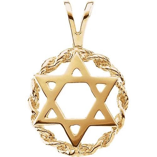 Star of David Braided Pendant 20x13mm - 14k Gold