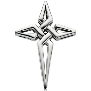 Sterling Silver 1 1/8in Pointed Cross Pendant