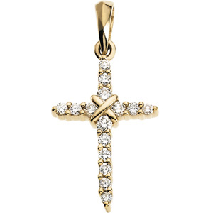 14kt Yellow Gold 2/5 ct Diamond Cross