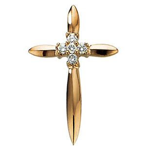 14k Yellow Gold .07 CT Diamond Pointed Cross Pendant