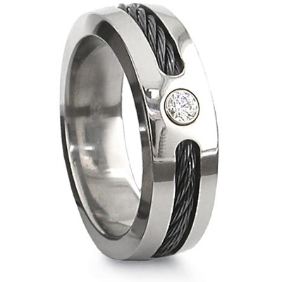 Edward Mirell Titanium Diamond 7mm Ring with Single Black Cable