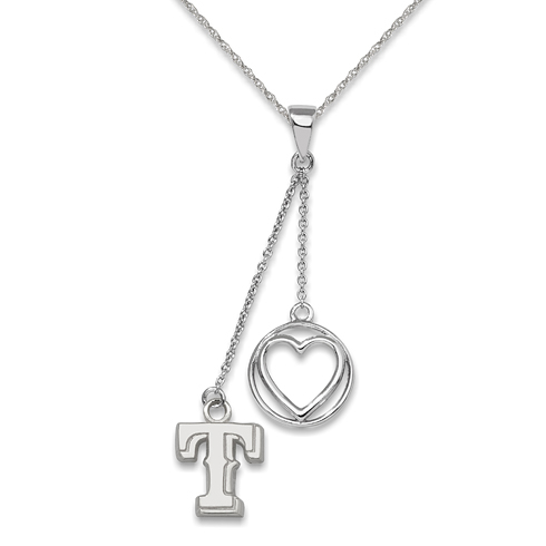 Sterling Silver Texas Rangers Beloved Heart Necklace